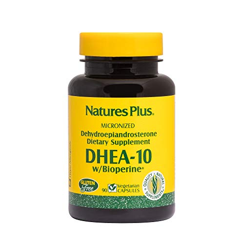 NaturesPlus DHEA-10 with Bioperine – 10 mg, 90 Vegetarian Capsules – Anti-Aging Hormone Support, Mood and Energy Booster, Anti-Inflammatory – Gluten-Free – 90 Servings