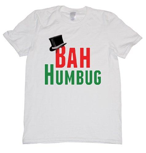 White Mistletoe Santa Hat - Bah Humbug Top Hat Tee Shirt Mens XXL white N