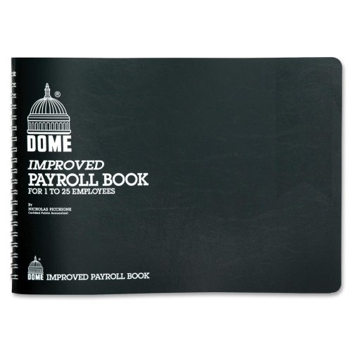 Wholesale CASE of 20 - Dome Publishing Payroll Book-Payroll Books, 1-25 Employees, 10''x7'', Green