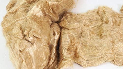 Muga Silk Laps Luxury Natural Shiny Golden Color Roving for Wet Felting Nuno Felting Spinning Weaving Mixed Media Crafts Felting Supplies Store