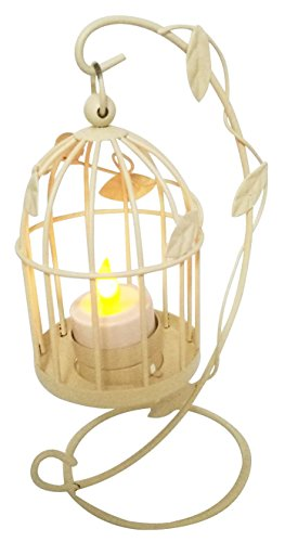 Vintage Style Birdcage With Climbing Vines Wire Candlestick Candle Holder Candle Lantern Stand Ornament For Home Cafe Hotel Restaurant Decoration Birthday Christmas Housewarming Gift (Cream White) by Winterworm