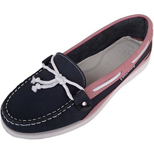 Absolute Footwear Womens Leather Casual/Summer/Holiday Boat/Deck Shoes/Sandals Navy/Pink