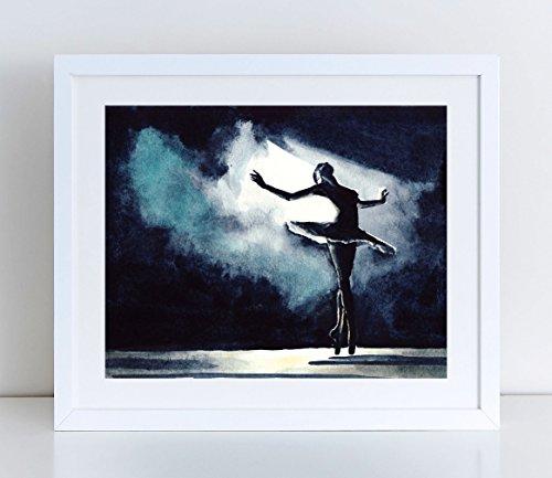 Ballet Art Ballerina Dancer Print Misty Copeland Inspirational Art Ballet Tutu Dance Studio Decor Dancer Gift for Her Ballerina Art Print Black Swan Costume Watercolor Art Canvas Print -