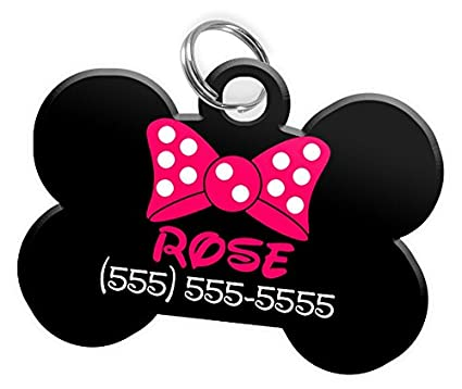 f54a56d606fb Image Unavailable. Image not available for. Color: Polka Dot Bow Tie Custom  Personalized Pet ID Tag for Dog ...