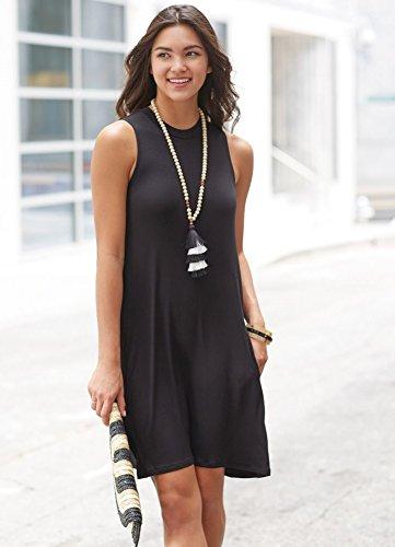 (Mud Pie Alissa Swing Large Rayon Spandex Dress in Womens Clothing Black )