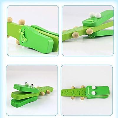 Lx10tqy Cartoon Crocodile Wooden Castanet Clapper Musical Instrument Children Kids Preschool Toy: Home & Kitchen