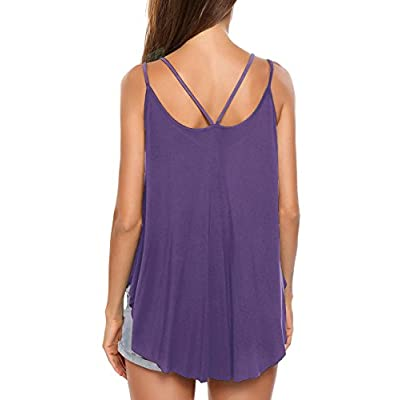 Women Loose Double Strap Flowy Blouse Cami Vest Tank Tops Summer S-XXL at Women's Clothing store