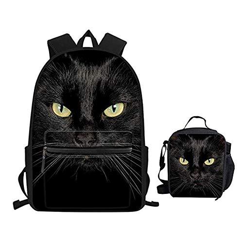 INSTANTARTS Black Cat Mini Lunch Handbag Pencil Bag Waterproof Laptop Bookbag School Backpack Set
