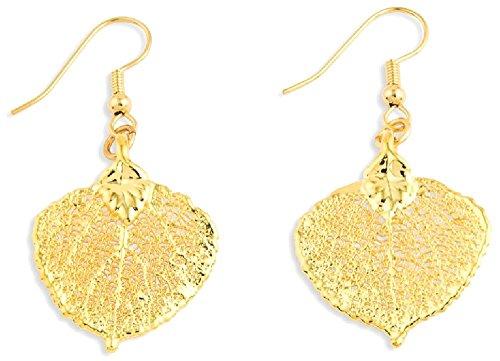 IceCarats 24k Gold Dipped Aspen Leaf Dangle Earrings