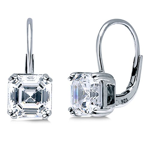 BERRICLE Rhodium Plated Sterling Silver Asscher Cut Cubic Zirconia CZ Solitaire Leverback Anniversary Wedding Dangle Drop Earrings 4 CTW