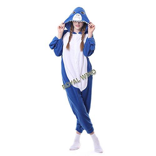 [ROYAL WIND Women's Cosplay Flannel Anime Cartoon Onesie Adult Blue Shark Pajamas XL] (Plus Size Shark Costumes)