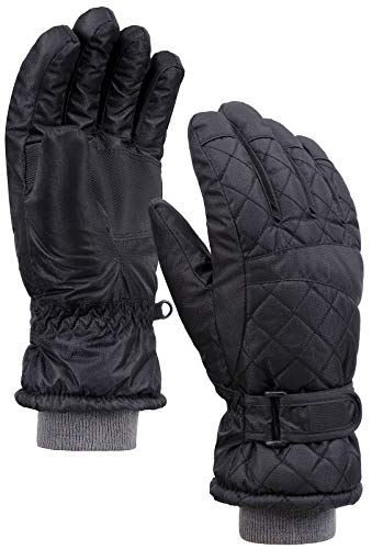 Denovit Womens Waterproof Adjustable Anti-Slip Quilted Winter Ski Gloves,Black,M