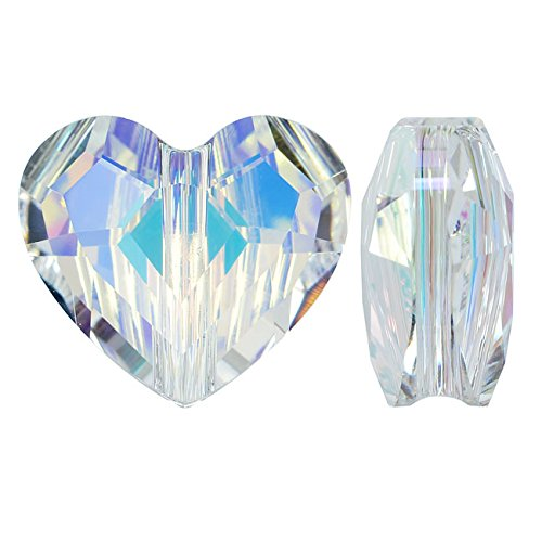 Swarovski Crystal, #5741 Love Heart Bead 8mm, 2 Pieces, Crystal (Swarovski Crystal Heart Beads)