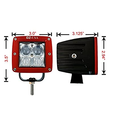 OZ-USAR 4D POD Combo Flood Spot Phillips LED Lights RED Fog ATV Offroad 3 x 4 Race Beam Truck Motorcycle Cube: Automotive