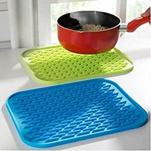 Kitchen Tool Silicone Insulation Against Hot Pot Mat,Assorted Color , Blue