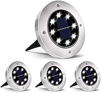Lampe solaire pour jardin 8 pack 8 LED Spots Solaires Encastrables Etanche IP65 Solaire Pelouse Lumi/ère Pour Jardin Cour Terrace Pelouse Chemin Lumi/ère Solaire Ext/érieur
