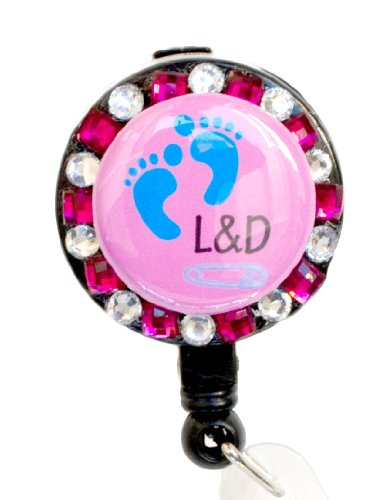 Labor and Delivery RN/ Baby Footprint Pink Rhinestone Retractable Badge Reel/ ID Badge Holder