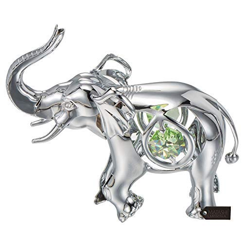 Matashi Chrome Plated Silver Elephant with Open Mouth Ornament with Mint Green and Clear-Cut Crystals