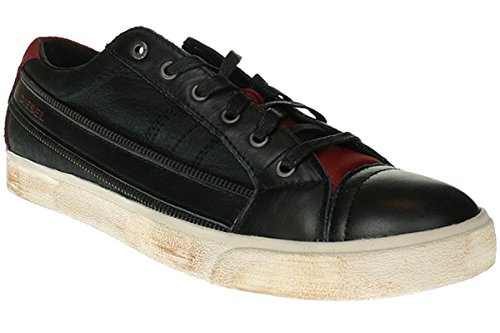 (Diesel Mens Shoes D-String Fashion Sneakers Leather Black Red Y01107 P1038 H2177 (8.5))