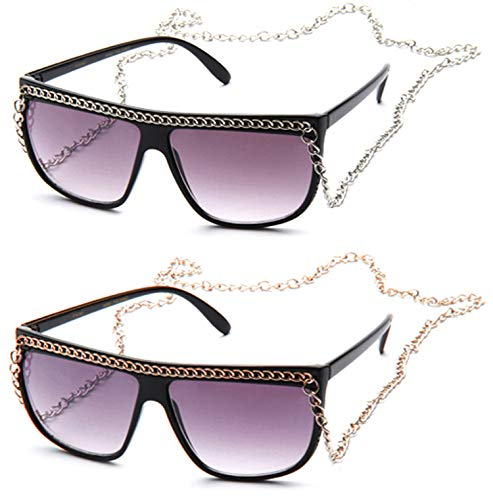 1dacbd1e0047 Amazon.com: Flat Top Oversized Retro Chain Sunglasses with Metal Chain on  Top & Neck: Clothing