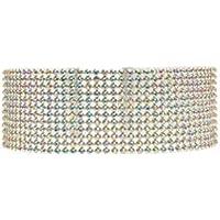 Rhinestone Choker 3, 5, 8,12 Row by Hunputa – 1PC Women's Crystal Necklace Diamond Collar with 4 Inch Extension (12 Rows)