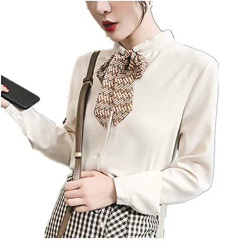 (Aniywn Women Work Office Blouse Korean Bow Floral Chiffon Print Tops T-Shirt Loose Long Sleeve Tunic Tee Beige)