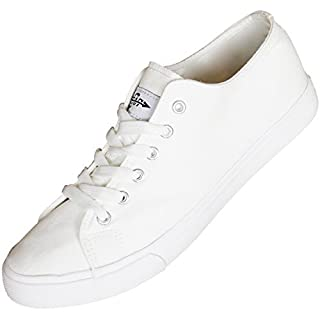 Fear0 Unisex True to Size All White Tennis Casual Canvas Sneakers Shoes for Men Women (Mens 9.5 D(M) US, White)