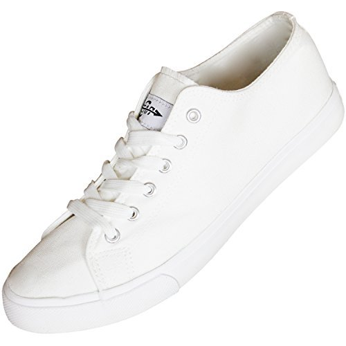 Fear0 Unisex True to Size All White Casual Canvas Sneakers Shoes Mens/Womens, Mens SIZE 10 , Womens SIZE 11