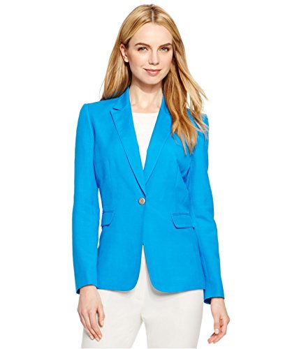 Tahari Women's Blue Petite Linen-blend One-button Jacket Size (Linen Blend Three Button Jacket)