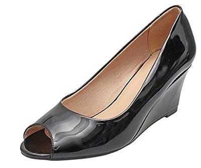 Forever Link Women's Peep Toe Slip on Wedge Pump
