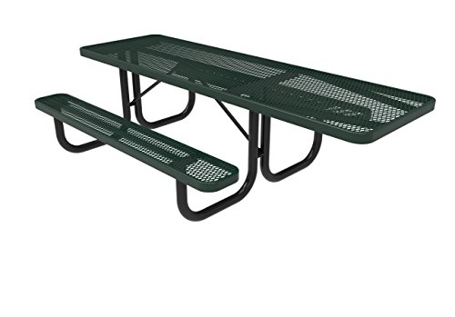 Coated Outdoor Furniture T8H-GRN Rectangular Portable Picnic Table, Handicap Accessible on One End, 8 Feet, Green (Expanded 8' Steel Bench)