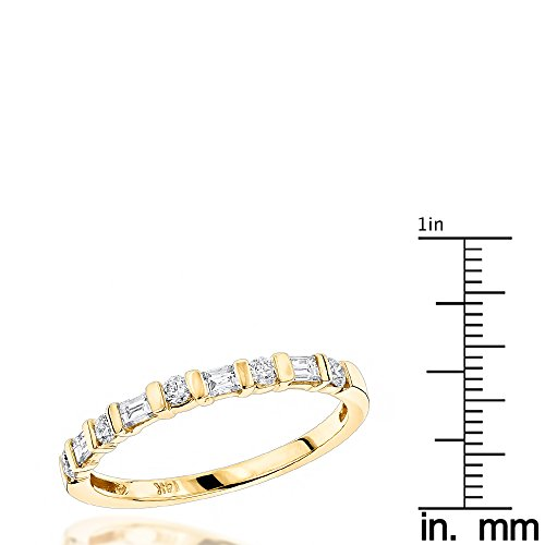 Luxurman Ring 14K Emerald & Round Diamond Women Wedding Band (Yellow Gold Size 7)