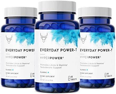 HyperPower Everyday Testosterone Booster for Men – Natural Stamina, Endurance, Strength Libido Booster – Accelerate Muscle Growth and Fat Burning – 180 Tablets, Made in USA, 3-Pack