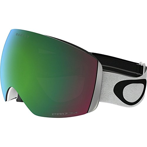 Oakley Men's Flight Deck Snow Goggles, Matte White, Prizm Jade Iridium, - White Goggles Oakley