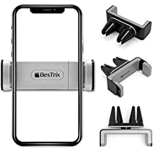 New Designed Air Vent Cell Phone Car Mount With Adjustable Size Up To 6''   Secure Double Clamp Grip, Compact & Durable Holder For All Smartphones & iPhones (Grey) by BESTRIX