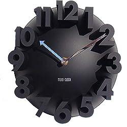 GCA 3D Big Digital Modern Contemporary Home Office Decor Round Quartz Wall Clock Black