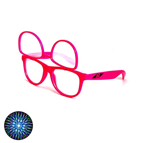 Flip Up Double Diffraction Glasses - Pink Frame