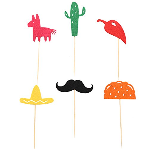 Fiesta Cupcake Toppers, Mexican Themed Cactus Donkey Taco Pepper Sombrero Mustache Party Decorations, 24 pcs by Awesome Surprise (Image #3)