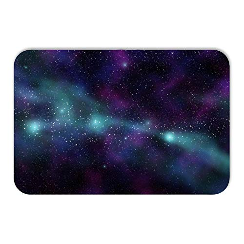 Kitchen Floor Toilet Bath Mat Rug, Outer Space Theme, Soft Super Absorbent Flannel Luxury Bathroom Decor Mat with Non Slip Backing,24 W X 36 L Inches ()