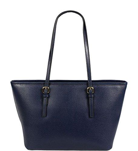 Schöne praktische Leder Lelia Piccola Blu über die Schulter