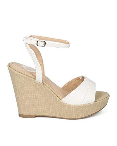 Platform Heels Trendy Leatherette White Casual Summer Sandal Versatile Wild Dressy Wedge by Diva HC73 Ankle Strap Women Alrisco Wedge Heel Collection 4xq75O4