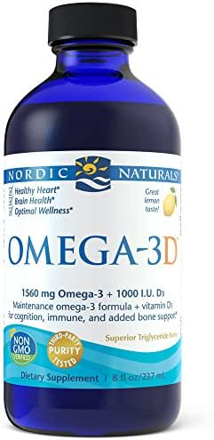 Nordic Naturals Omega-3D Liquid - Promotes Heart Health, with Added Vitamin D3 for Additional Bone, Cognitive, and Immune Support*, Lemon, 8 Ounces