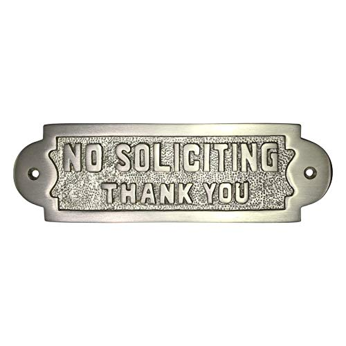 Adonai Hardware Rectangular No Soliciting Brass Door Sign -Satin Nickel by Adonai Hardware