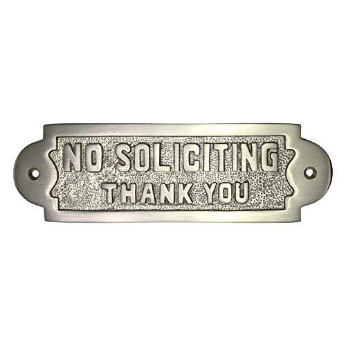 Adonai Hardware Rectangular No Soliciting Brass Door Sign -Satin Nickel