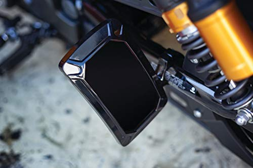 Kuryakyn 3191 Motorcycle Accent Accessory: Nova Curved License Plate Holder and Frame with Wraparound LED Illumination Lighting, Vertical Side Mount, Gloss Black