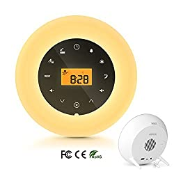AGPTEK Sunrise Alarm Clock Wake Up Light, Bedside Lamp Night Light White Noise Machine with FM Radio, Aux-in Speaker and USB Charger, Touch Snooze Function & 8 Nature Sounds