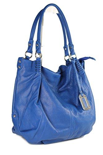 Belli ital. XXL Nappaleder Shopper HoBo royal blau butterweich - 48x37x16 cm (B x H x T) 9STZVrgT