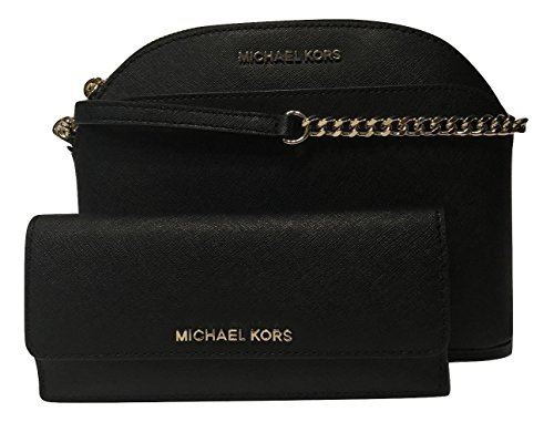 MICHAEL Michael Kors Emmy MD Crossbody bundle with Michael Kors Jet Set Travel Flat Wallet (Black/Gold) (Vanilla Plum Collection)