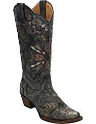 Corral Womens Tribal Embroidered Cowgirl Boot Snip Toe Black