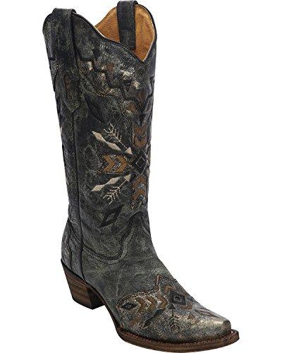 Corral Kvinna Stam- Broderade Cowgirl Boot Klipp Tå Svart Svart